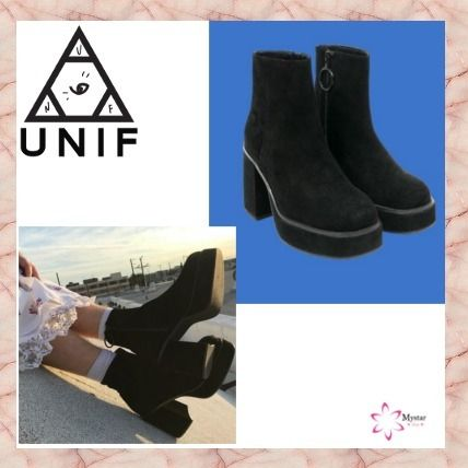 Casual Style Unisex Street Style Block Heels Boots Boots