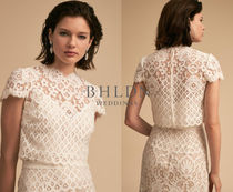 TADASHI SHOJI Short Flower Patterns U-Neck Short Sleeves Lace