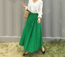Flared Skirts Casual Style Plain Cotton Long Maxi Skirts