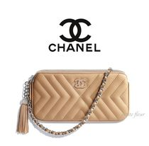 CHANEL Calfskin Chain Plain Party Style Clutches