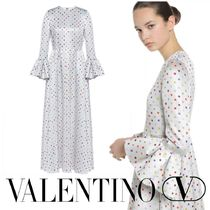VALENTINO Dots Nylon Flared U-Neck Long Party Style Puff Sleeves