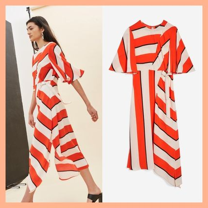 Stripes Casual Style A-line Medium Puff Sleeves Dresses