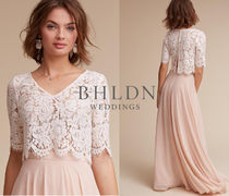 BHLDN Short Flower Patterns V-Neck Short Sleeves Lace