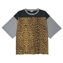 Saint Laurent Leopard Patterns U-Neck Cropped Cotton Long Sleeve T-Shirts