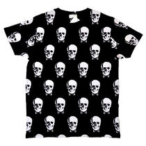 Saint Laurent Skull U-Neck Cotton Short Sleeves T-Shirts