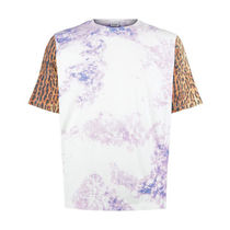 Saint Laurent Leopard Patterns Unisex Tie-dye U-Neck Short Sleeves