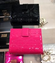 Christian Dior LADY DIOR Plain Folding Wallets