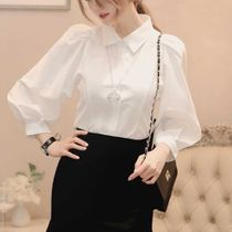 CHICLINE Puffed Sleeves Plain Elegant Style Shirts & Blouses
