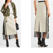 sacai Pencil Skirts Other Check Patterns Casual Style Plain Cotton