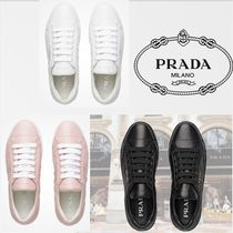 PRADA Rubber Sole Casual Style Leather Low-Top Sneakers
