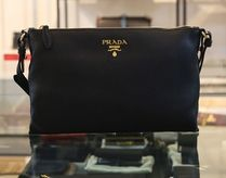 PRADA BIBLIOTHEQUE Casual Style Plain Leather Shoulder Bags