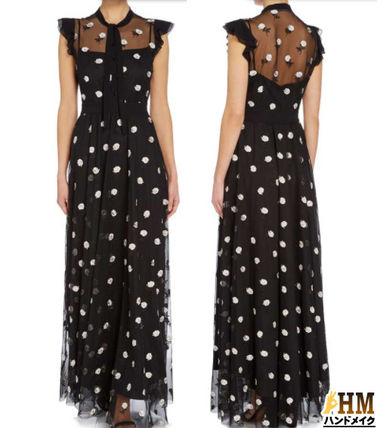 Crew Neck Flower Patterns Maxi Sleeveless Long Party Style