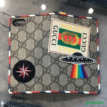 GUCCI Stripes Monogram Unisex Street Style Leather