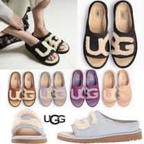 UGG Australia Open Toe Sheepskin Blended Fabrics Plain Slippers