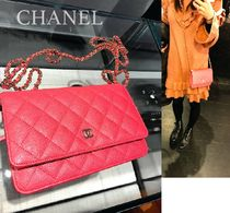 CHANEL CHAIN WALLET 3WAY Chain Leather Elegant Style Shoulder Bags
