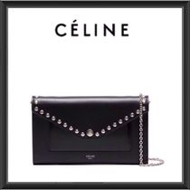 CELINE Studded 2WAY Chain Plain Leather Clutches