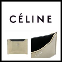 CELINE Bi-color Plain Leather Card Holders