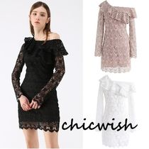 Chicwish Short Tight Blended Fabrics Lace Elegant Style Dresses