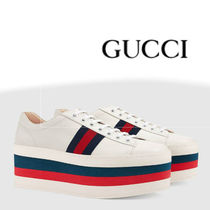GUCCI Platform Lace-up Casual Style Plain Leather