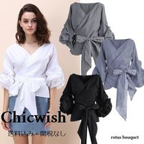 Chicwish Gingham Stripes Casual Style Cotton Medium Shirts & Blouses