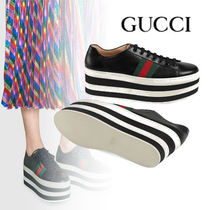 GUCCI Stripes Platform Casual Style Leather
