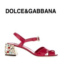 Dolce & Gabbana Leather Block Heels With Jewels Sandals Sandals