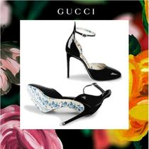 GUCCI Flower Patterns Round Toe Plain Leather Pin Heels