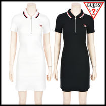 Guess Casual Style Tight Plain Cotton Medium Short Sleeves Dresses