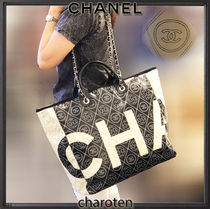 CHANEL ICON Flower Patterns Cambus Blended Fabrics A4 2WAY Bi-color