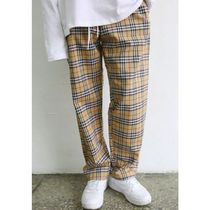 Other Check Patterns Casual Style Unisex Cotton Long Pants
