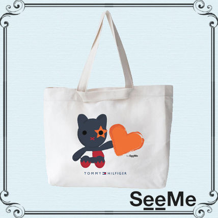 Heart Casual Style Collaboration Handmade Totes