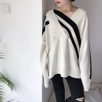Street Style V-Neck Oversized Super-long Sleeves Sweaters