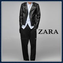ZARA Plain Leather Biker Jackets
