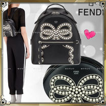 FENDI 2WAY Plain Leather Elegant Style Backpacks