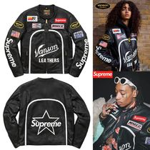 Supreme Street Style Collaboration Leather Biker Jackets