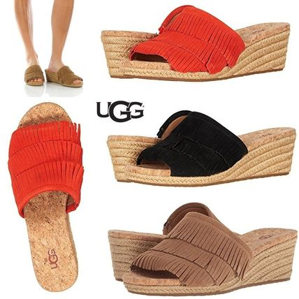 Open Toe Casual Style Suede Plain Fringes