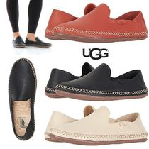 UGG Australia Round Toe Rubber Sole Casual Style Plain Leather