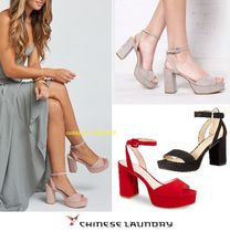 CHINESE LAUNDRY Open Toe Casual Style Street Style Plain Block Heels