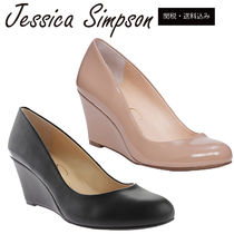 Jessica Simpson Plain Toe Plain Elegant Style Wedge Pumps & Mules