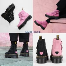 LAZY OAF Heart Platform Plain Toe Casual Style Suede Collaboration