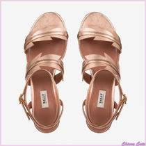 BALLY Open Toe Plain Leather Block Heels Elegant Style Sandals