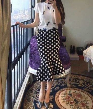 Midi Pencil Skirts Dots Cotton Medium Midi Elegant Style