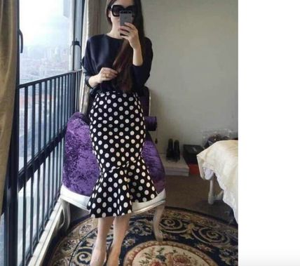 Midi Pencil Skirts Dots Cotton Medium Midi Elegant Style 2