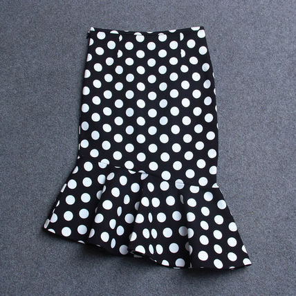Midi Pencil Skirts Dots Cotton Medium Midi Elegant Style 3