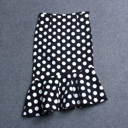Midi Pencil Skirts Dots Cotton Medium Midi Elegant Style 4