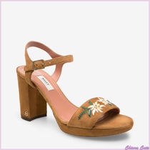 BALLY Flower Patterns Open Toe Casual Style Suede Blended Fabrics