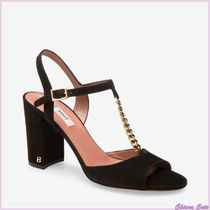 BALLY Open Toe Suede Blended Fabrics Chain Plain Block Heels