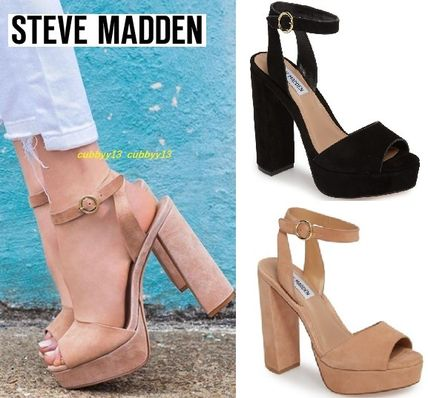 e7def2cbcb4 Open Toe Suede Street Style Plain Block Heels Party Style. Steve Madden