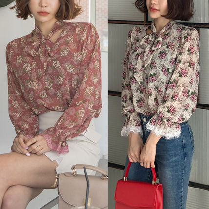 Shirts & Blouses Flower Patterns Long Sleeves Medium Office Style
