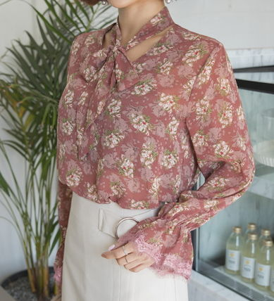 Shirts & Blouses Flower Patterns Long Sleeves Medium Office Style 2